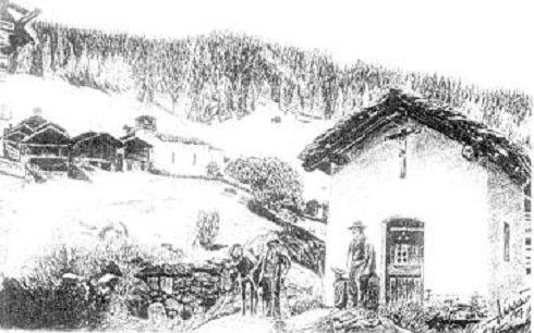 Grimentz (Grimencz) - Az imaház és a falu - 1910.