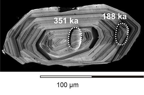 A cirkonkristály belseje 350 ezer éve alakult ki, a külső része pedig 188 ezer éve kristályosodott. A magmakamra mindeközben létezett a vulkán alatt