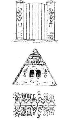 Fent: szimmetrikus kapudíszítés Csekefalváról (Székelyudvarhely mellett); középen: ugyancsak csekefalvai oromdísz; lent: virágdíszítések a Mayeaux-i kápolna oltár mögötti boltívről. (A. K. Fischer nyomán)