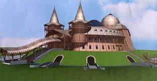 Atilla palotája. Priszkosz  rétor bizánci követ leírása és régészeti kutatások alapján. Háyde Tibor építész tervezte eredeti helyére, Tápiószentmártonba