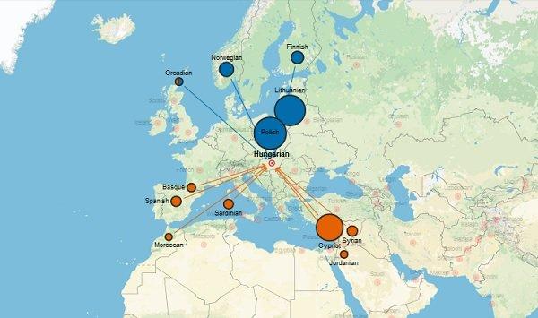 A DNS térképen, a magyarokra kattintva, a genetikai keveredés jól látható.