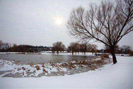 Tél a nagykanizsai csónakázó tónál