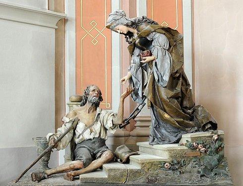 Árpádházi Szent Erzsébet. szobor fából, a Christian Delago a plébániatemplomban Urtijëiben (Dél-Tirol) Rudolf Moroder alkotása (1900).