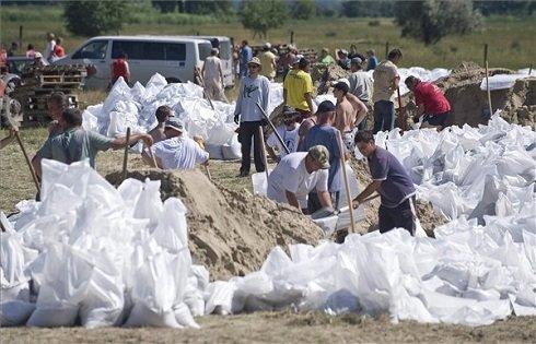 A Duna áradása miatt önkéntesek homokzsákokat töltenek a Duna nyárigátjánál Solt határában 2013. június 9-én. MTI Fotó: Ujvári Sándor