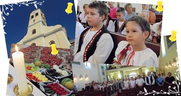2014. augusztus 3. Csányi Dinnyefesztivál - A hagyományok élnek. Hálával tartozunk Istennek a teremtett javakért - Ételszentelés és szentmise a helyi katolikus templomban - Fotó: Magyar Nő Magazin