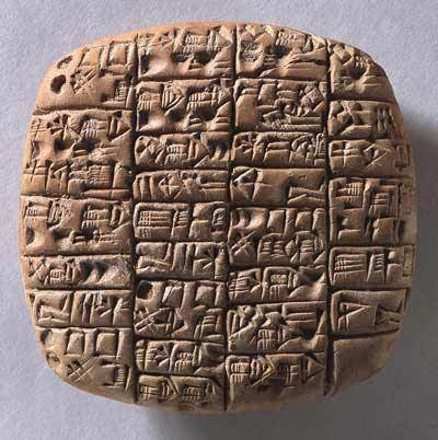 """Ékírásis szöveg - Dél-Mezopotámia, Kr.e.2370, Lugalanda herceg uralkodása idején - Az """"okmány"""" háromféle sör szállítmányról szól, a címzettek különbözők (palota, templom). A feljegyzés szerint a sör összetevői között megtaláljuk a felhasznált árpa pontos mennyiségét."""