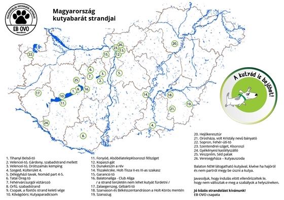 az EB OVO által közzétett kutyás strandok Magyarország természetes vizei mentén