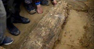 Fagyott múmia nyírfakéreg koporsóban