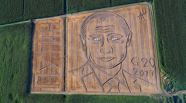 Orosz műhold fotó olaszországi óriási Putyin portréról