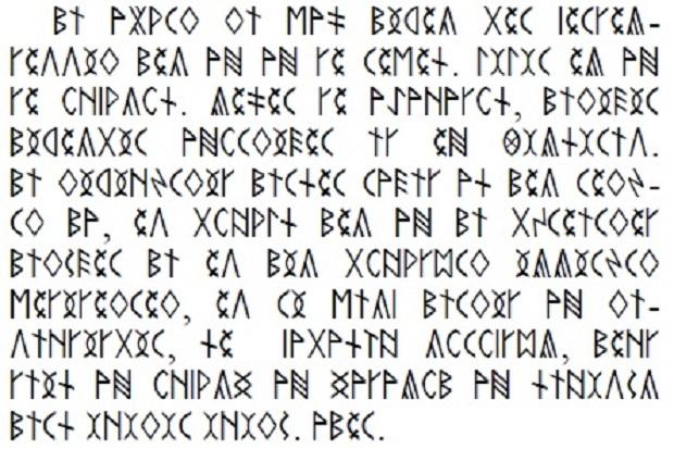 2. ábra. A Rudimentában található Miatyánk a szabványos kódkiosztású rovásbetűkkel leírva.