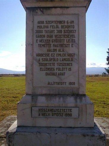 1658. szeptember 6.-i csatában a vereséget szenvedett tatárokat temették el Gyergyószárhegy település mellett.