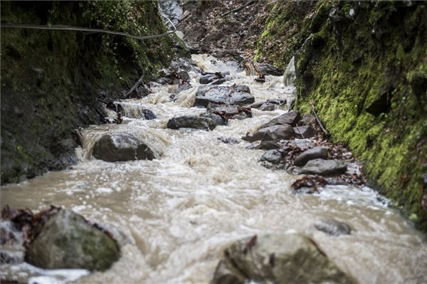 A Rám-patak hömpölygő vize a Rám-szakadékban Dömös közelében 2015. január 10-én. MTI Fotó: Sóki Tamás