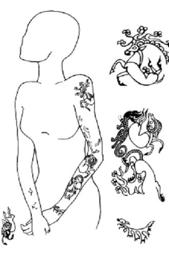 Tetoválás egy kurgán alatt lévő női testen