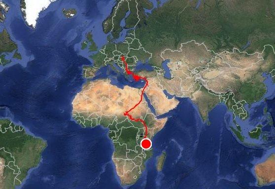 Zagyva kóborlásának útvonala - Felvétel: satellitetracking.eu