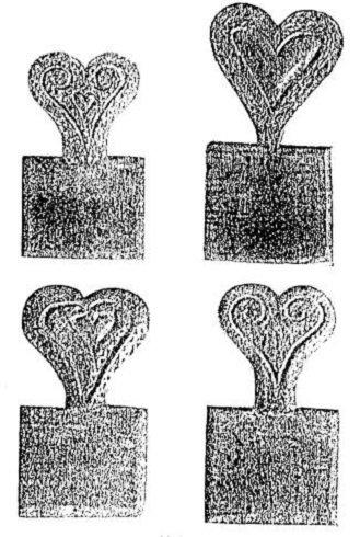 Sajátos szív alakú fából készült gyertyaminta-nyomó lapocskák 1891-ből Val d' Annivierből. (A. K. Fischer nyomán)