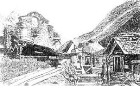 Zinal (Szinál) - A régi kápolna a falu elején - 1910.