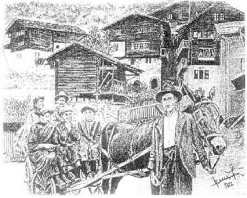 Vissoie (Viszój) - Visszatérés a piacról - 1929.