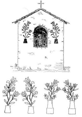 Tulipánmintás útmenti kápolna Mission-ból. Lent: Ugyanennek a kápolnának a virágmintái és (jobboldalt) Mayeaux-i ugyanilyen kápolna hasonló virágmintái. Az edény kárminpiros, a virág szára zöld, a tulipánok tűzpirosak, a kis csillag alakú virágok közepe sárga, a szirmai kékek. (A. K. Fischer nyomán)