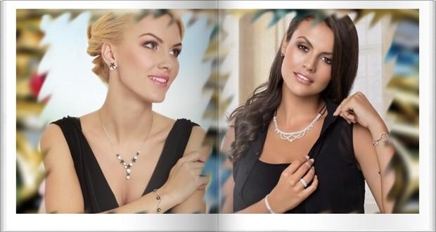 Fekete-fehér swarovski elements nyakék és fülbevaló szett, fejpánt jellegű haj ékszer fehér kristályok elasztikus-anyaggal.