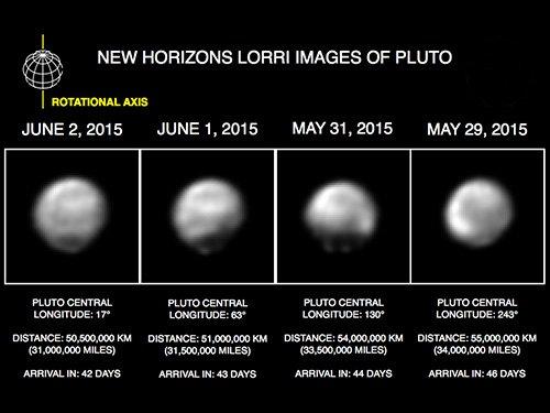 Felszíni különbségek a Plútón a LORRI kamera képei alapján Forrás: JHUAPL