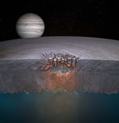 """Fantáziarajz az Europa hold jégpáncéljába nyomult, sós víz alkotta """"tólencséről"""" Forrás: Britney Schmidt / Dead Pixel VFX / Univ. of Texas at Austin"""
