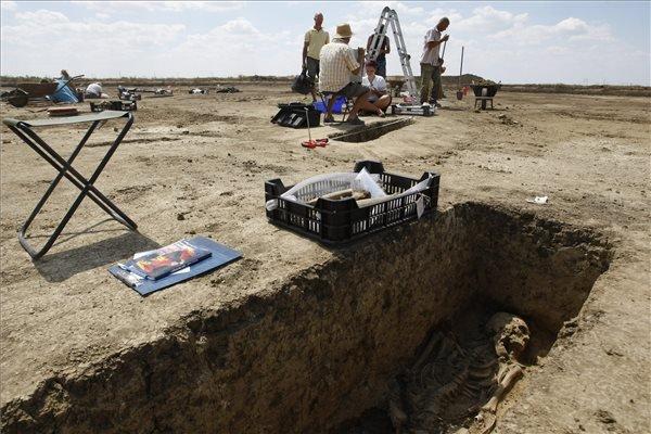 Régészek dolgoznak egy gepida temető feltárásán Tiszapüspöki határában 2015. július 21-én. A szakemberek nyolcezer négyzetméter átkutatása során bukkantak az V. századi, mintegy kilencven sírból álló, kiemelkedően gazdag leletanyagot rejtő temetkezési helyre. MTI Fotó: Bugány János