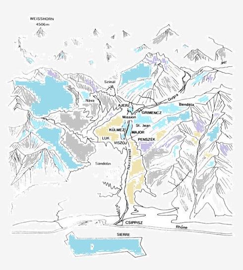 A Val d'Anniviers helységei - némelyik kiejtés szerint írva