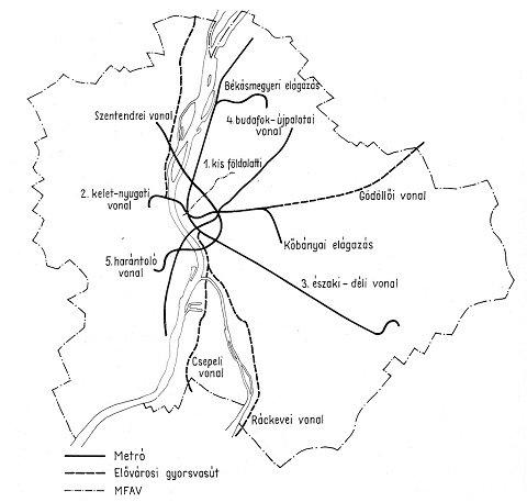 Térkép a gyorsvasúti hálózat meglévő és tervezett vonalaival a hetvenes évekből A képre kattintva fotógaléria nyílik