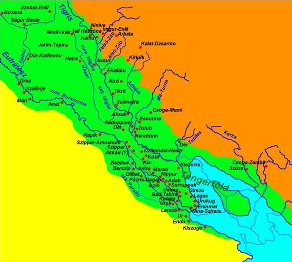 Az ókori Mezopotámia térképe - Ábra: Wikipedia