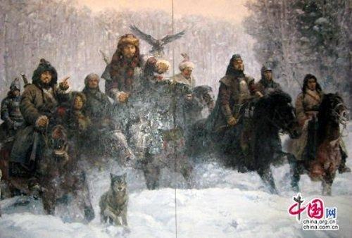 A hunok hétköznapjait bemutató kortárs művész által festett kép a pekingi kiállításon