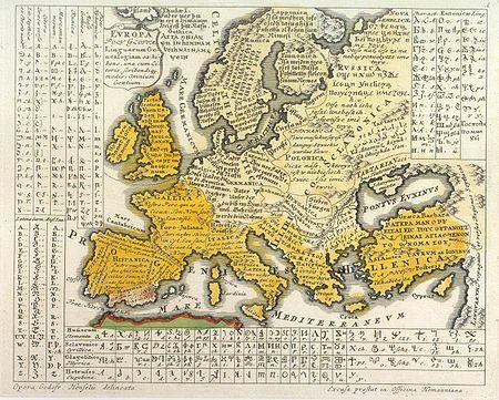 """Gottfried Hensel 1730-as Európa-térképe Europa Polyglotta, Linguarum Genealogiam exhibens, una cum Literis, Scribendique modis, Omnium Gentium. A térképen megtalálható a székely-magyar rovás (Hunorum elementa) betűkészlete is. Magyarország jelölése: HVNGARICA, Magyarország területén régi magyar helyesírással látható a következő mondat: """"Mi Atyanc kivagy az mennyekben"""" /wikipedia/"""