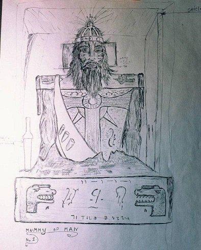 A feltárt férfi óriás múmia vázlat rajza