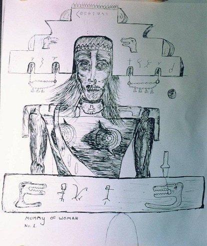 A feltárt nő óriás múmia vázlat rajza