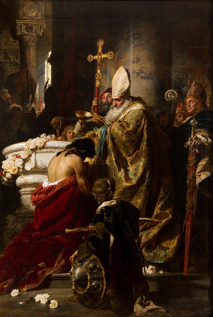 Benczúr Gyula: Vajk megkeresztelése, azt a verziót ábrázolja, amely szerint Istvánt Szent Adalbert keresztelte meg